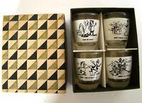 Set of 4 Anchor Hocking Cartoon Shot Glasses 1960's in Orig Box
