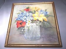 "Watercolour of Flowers in a pot signed Joyce P. Smith, 9-3/4"" x 9-3/4"""