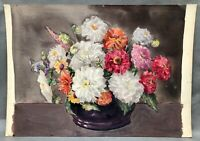 1960s CHRYSANTHEMUMS FLOWERS STILL LIFE  Watercolour by Marion BROOM 1878 - 1962