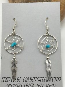"Native American Sterling Silver Turquoise DreamCatcher Earrings 1.75"" 4478"