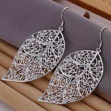 925 Silver Plt Filigree Leaf Drop Dangle Hook Earrings Leaved Hollow Leaves a