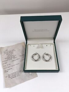 ERNEST JONES 9CT WHITE GOLD CREOLE HOOP EARRINGS - WITH RECEIPT & BOX