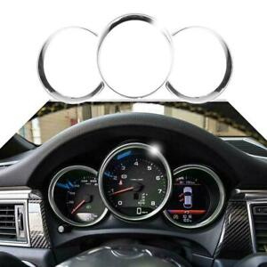 3x Chrome Silver Dashboard Meter Frame Covers Trim For Porsche Cayman Boxster