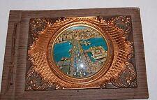 Antique Dome Glass Copper Scrapbook Photo Album Leather Blank Wax Paper 50s Vtg