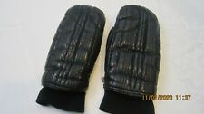 Vintage Kombi Ski Gloves Mittens Black Leather Size Medium