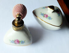 Pretty matching vintage perfume atomiser and trinket box Bavarian porcelain