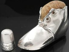 ANTIQUE SHOE PIN CUSHION & STERLING SILVER THIMBLE