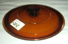 Amber glass pot, pan domed lid, fits 7-1/8 to 7-1/4 opening, lot 1-20O