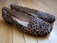 Kate Spade 6.5 Leopard Cheetah Print Calf Hair Red Patent Leather Flats Shoes