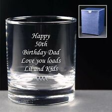 Personalised Whiskey Glass Birthday 18th 21st 30th 40th 50th 60th 70th 80th Gift