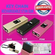 1 Mini Keychain Stun Gun 500 MV Flashlight w/ USB Charger Cord