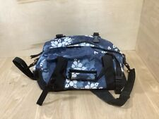 L.L. Bean Duffle Bag Luggage Blue White Hibiscus Flower Water Resistant 17x12