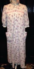 LANZ of SALZBURG~pink CABBAGE ROSES Cotton GOWN~House Dress~Eyelet~SMALL S