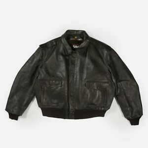 Vintage Schott NYC Military Flight Leather Jacket Lined Biker Brown USA Size 52