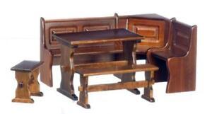 Dolls House Walnut Wood Nook Dining Set Kitchen Pub Bar Complete Furniture Set