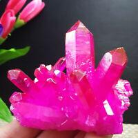 Natural Pink Red Crystal Quartz Citrine Cluster Mineral Specimen Healing Gift