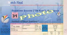 Photo Ticket Billet Finale France Italie Zidane Trézéguet euro 2000