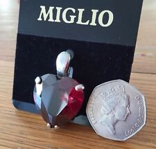 FABULOUS RED CRYSTAL HEART MIGLIO SWAROVSKI PENDANT EN488 SILVER BNWT