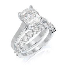 0.90 Ct Cushion VS1 Diamond Engagement Ring Band Set 14K White Gold Size 4 5