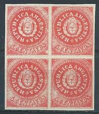 Argentina 1863 Sc# 7C Seal of Republic Arms Old counterfeit Forgery block 4 MNH