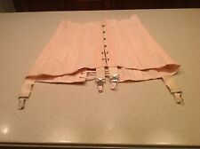 Ladies Corset Vintage Women's Pink Lace Up and Metal Hooks Garter Straps Size 30