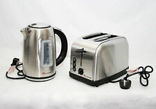 Silver Pyramid Style 1.7L Cordless Electric Kettle & Two Bread Slice Toaster Set