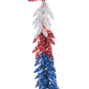 9ft x 12in. Patriotic American Christmas Garland Red/White/Blue w/Lights