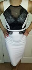 Lipsy Bodycon Pencil Dress 8 White Black Lace Mesh Detail Party Occasion Sexy