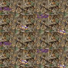 LSU Tigers NCAA Realtree Camouflage cotton fabric-LSU-1163-$9.49/yard