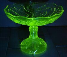 Ancienne COUPE en OURALINE sur PIED DOUCHE déco URANIUM GLASS