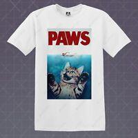 Paws T Shirt Cat Parody Tee Retro Film Poster Calvin Cult New Kitty Stranger Top