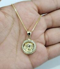 Clearance 10K White Yellow Gold Medusa Head Charm Pendant Medallion CZ Chain