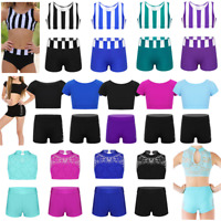 Girls 2-Piece Dance Outfit Kids Crop Top Vest +Shorts Dance Sports Gym Dancewear