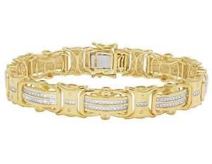 "Yellow Gold Finish Real Diamond Designer Men's Pave Bracelet 1/2 CT 8"" 12MM"