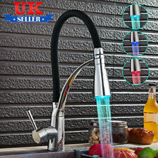 LED Kitchen Sink Mixer Taps Swivel Spout Pull Out Basin Tap Black Chrome Faucet