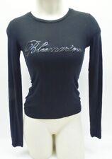 Blumarine Black Logo Long Sleeve T Shirt Top