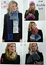 CROCHET PATTERN Ladies Scarves Cowl Neck Warmer Hat Handwarmers DK KingCole 5149