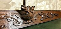 Large hunting trophy wood carving pediment Antique french architectural salvage