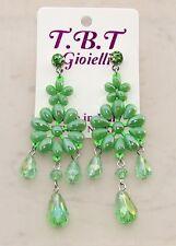 Moda estate Orecchini Grandi pendenti cristalli,Fiori,perlati,da Donna verde