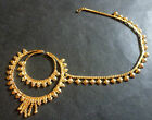 Gold Plated Indian Designer Nose 2 Rings Chain Wedding Bridal Jewelry Set 2