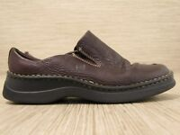 Born Brown Leather Shoes Women's Size US 8 EUR 39 Slip-On Loafers Clogs Elastic