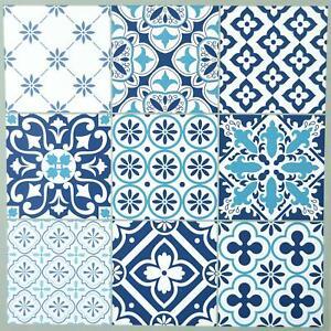 Floor Tiles Self Adhesive Vinyl Flooring Kitchen Bathroom Patterned Blue