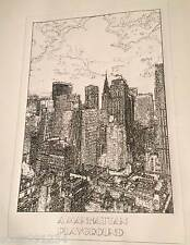 A Manhattan Playground (NYC, NY): Plots & Dots Pen Portrait 12 x 18in