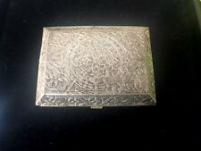 Antique Hand Carved Floral Engraved Sterling Silver 3.25in Pill Box