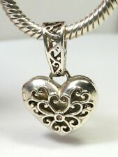 GENUINE CHAMILIA 925 SILVER OPENING FILIGREE LOVE HEART CHARM NECKLACE PENDANT