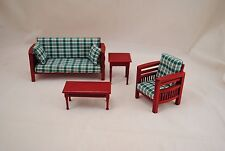 Family Living Room Set dollhouse miniatures 4pc T3694 1/12 scale modern mission