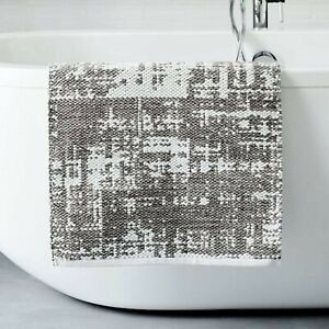 WEST ELM Organic FROST GRAY Distressed Texture Bath Mat / Rug 20 x 34  FREE SHiP