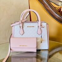 NWT Michael Kor Hope Signature Satchel / Wallet options white/powdered pink