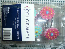 COLORFUL BLUE, PINK AND YELLOW FLOWER SHOWER CURTAIN HOOKS, 12 PER BOX, NEW