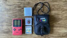 GameBoy Color Pink No Battery Cover With Carrying Case Wario Land & Castlevania